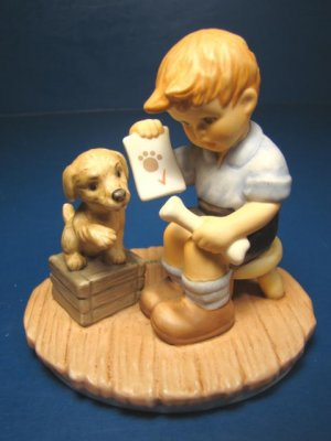 Goebel Clean Bill of Health Berta Hummel porcelain china figurine BH81 1999 boy figure puppy dog