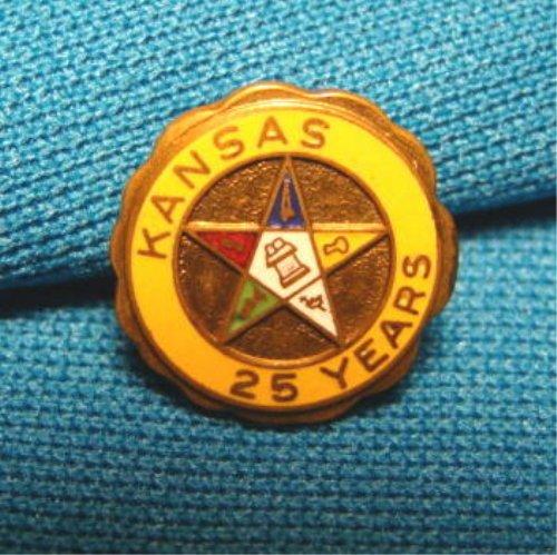 Kansas Eastern Star Pin vintage OES 25 years of service enamel brass metal Masonic fraternal order