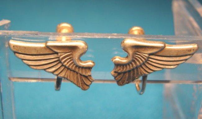 Vintage wings sterling silver earrings screw on backs eagle angel or airline flight attendant