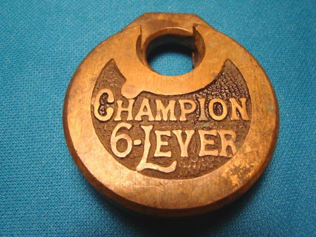 Antique Champion 6-lever padlock brass metal vintage heavy old lock oval 6 lever hardware, no key