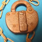 Antique Frisco Railroad Adlake vintage padlock iron steel metal old R.R. switch lock, chain no key