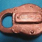 Chicago Burlington Quincy railroad CB&QRR vintage steel padlock old R.R. switch lock, no key