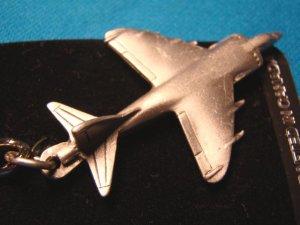 Pewter Harrier British jump jet keychain airplane aircraft military keyring aviation key ring