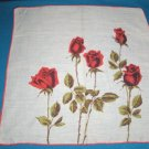 Red roses Colette vintage handkerchief flowers green long stems leaves on white hanky hankie