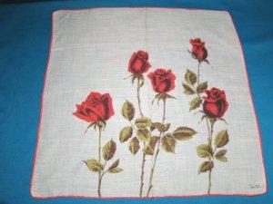 Red roses Colette vintage handkerchief flowers green long stems leaves on white hanky hankie