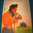 Cowboy litho cruise ocean liner NY Trinidad ship dinner menu SS Uruguay Moore-McCormack Lines 1951