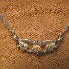 Black Hills Landstroms 10K gold leaves rose necklace pendant sterling silver chain 15.50 inch