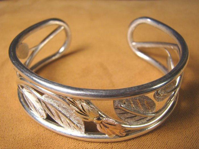 Black Hills Landstroms cuff bracelet sterling silver and maybe 10K 12K gold leaf open leaves design