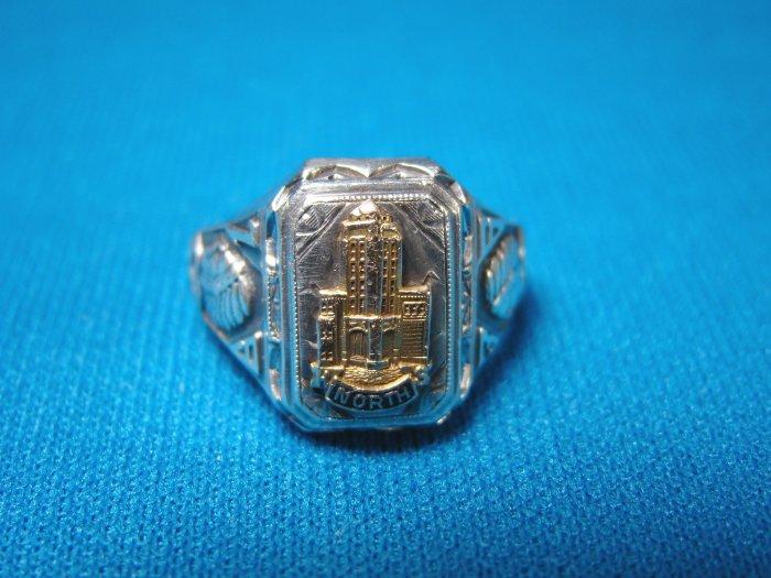 1936 North High School sterling silver vintage class ring Wichita Ks. Kansas Redskins gold tower