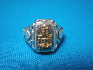 1936 North High School sterling silver vintage class ring Wichita Ks. Kansas Redskins gold tower