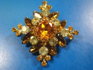 Judy Lee rhinestone brooch pin big amber clear high quality vintage designer signed jewelry 1950s