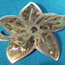 Taxco Mexico sterling silver brooch pin pendant abalone shell inlay flower vintage artist signed
