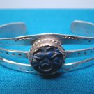 Bracelet sterling silver carved blue lapis bangle cuff signed LE vintage Native American