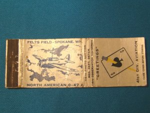 Spy airplane matchbook cover North American 0-47 116th Observation Squadron 41st Div. Ace Spades
