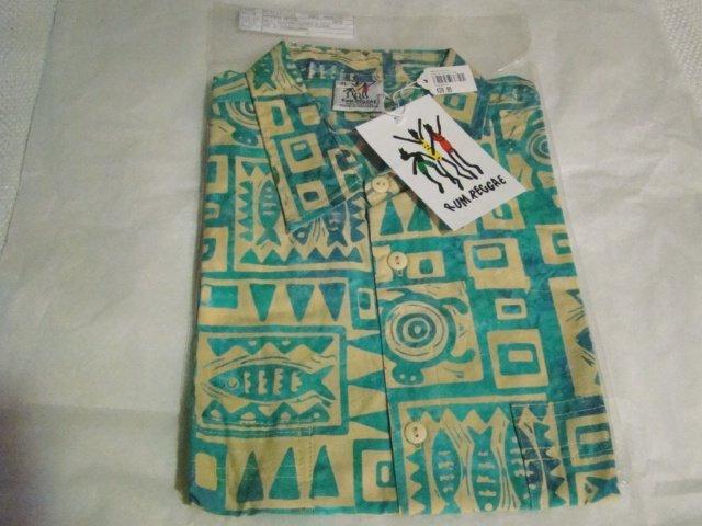 Rum Reggae batik shirt mens XL cotton Hawaiian style Marine Mode fish turtles short sleeve with tags