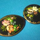 Russian black lacquer ware two brooch pins M. A. flower floral paper mache lacquerware jewelry