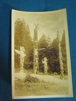 RPPC Totem Poles Stanley Park Vancouver B.C. Canada real photo postcard Gowen Sutton 1930s sepiatone
