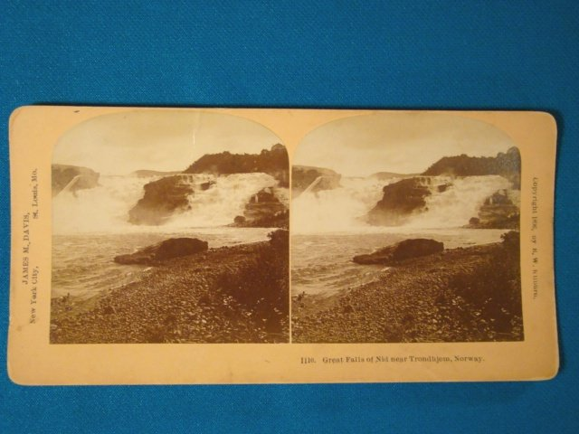 Great falls of Nid Trondhjem Norway stereograph stereoview stereoscope card Kilburn antique 1896