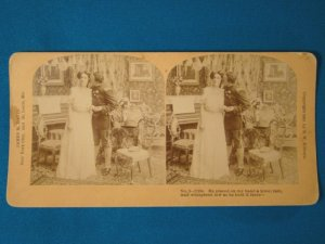 Soldier girl kissing stereoview stereo view stereoscope card B.W. Kilburn antique 1909 J.M. Davis