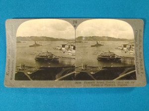 Plymouth Sound Drakes Island Harbor England stereoview stereograph stereoscope card Keystone antique