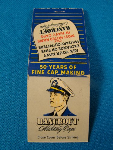 Bancroft Military Caps matchbook cover Navy Zephyr Framingham MA.