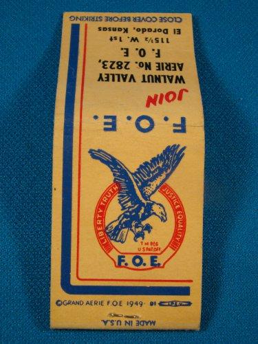 F.O.E. match book cover Fraternal Order of Eagles 1949 El Dorado Ks. Aerie 2823