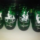 Set 8 Anchor Hocking Green Gay Nineties Roly Poly Tumblers Glasses 2 of each one