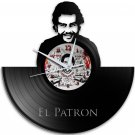 Pablo Escobar Narcos 12-Inch Black Vinyl Wall Clock Retro Unique Music Art Gift