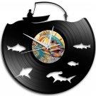Fishing 12-Inch Black Vinyl Wall Clock Retro Unique Music Art Gift