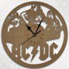 Ac Dc Wood Wall Clock Retro Unique Art Gift