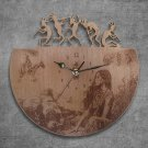 Indian Native American Wood Wall Clock Retro Unique Art Gift