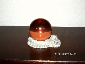 Crystal ball and holder
