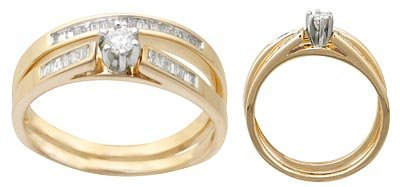 14 K Yellow Gold Round Diamond Wedding Set Reg $747