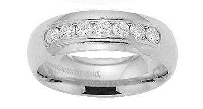 Benchmark - 14 K White Gold Channel Diamond Comfort Fit Band Reg $1724