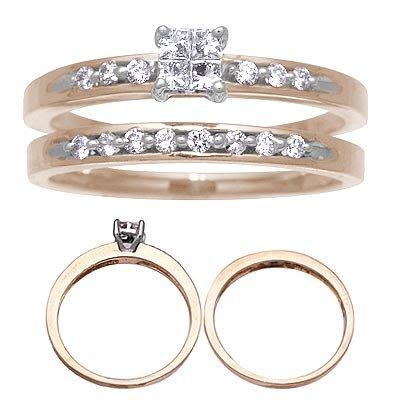 14 K Yellow Gold Diamond Wedding Set 1/3 Carat Reg $689