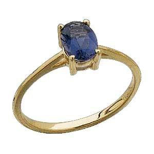 14 K Yellow gold with 1 Ct Genuine Iolite Ring Reg $217