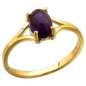 14 K Gold with 1 Ct Amethyst Cabochon Ring Reg $207