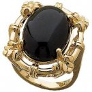 14 K Gold Sculptured Onyx Cabochon Ring Reg $448