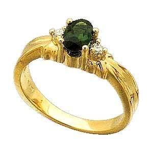 14K Yellow Gold Green Tourmaline and Diamond Ring Reg $483