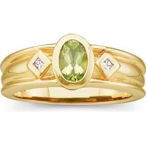14 K Yellow Gold Peridot and Genuine Diamond Ring Reg $540