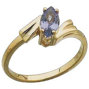 14K Yellow Sculptured Gold Ring with Genuine Tanzanite Reg $356