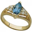 14K Gold and Genuine Swiss Topaz and Diamond Ring Reg $621
