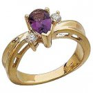 14K Gold Ring with Genuine Amethyst and Diamonds Reg $598