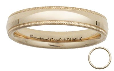 Benchmark - 4mm 14 K Yellow Gold Comfort Milgrain Band Reg $229
