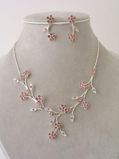 """""""Bridal Party"""" Designer Flower Necklace/Earring Set Pink Reg $49.99"""