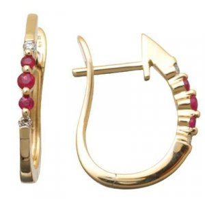 Genuine Ruby and Diamond Hoop Earrings Reg $263