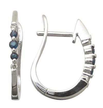 Genuine Sapphire and Diamond Hoop Earrings Reg $263