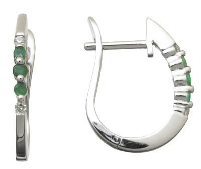 Genuine Emerald and Diamond Hoop Earrings Reg $263