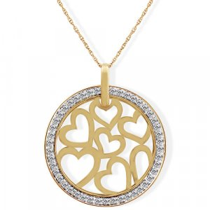 "1/5 Carat Diamond ""Hearts"" Medallion Necklace - Yellow Gold Reg $179"