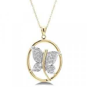 1/8 Carat Diamond Butterfly Necklace - Yellow Gold Reg $189